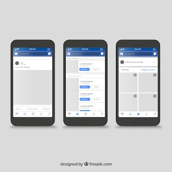 Интерфейс приложения facebook с минималистским дизайном