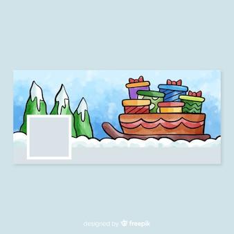 水彩クリスマスデザインのfacebookカバー