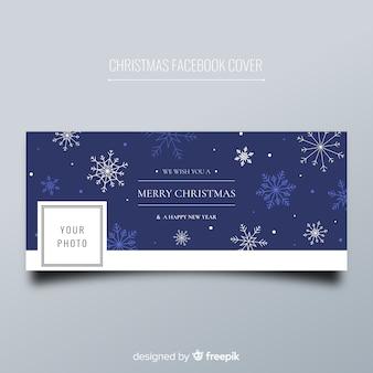 クリスマスのfacebookカバー平らな雪片