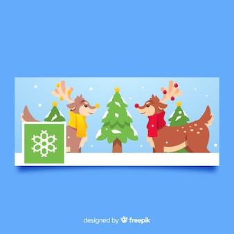クリスマスのfacebookカバーフラットトナカイ