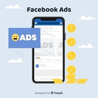 携帯電話のfacebookの広告の背景