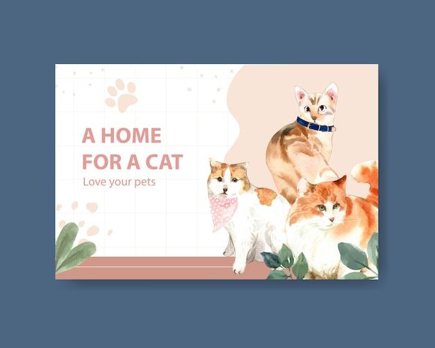 Шаблон поста в facebook с милыми кошками