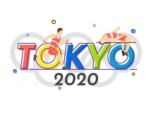Faceless athlete man high jump crossbar with runner character on tokyo 2020 letteirng