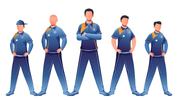 Faceless character of cricket team in standing pose