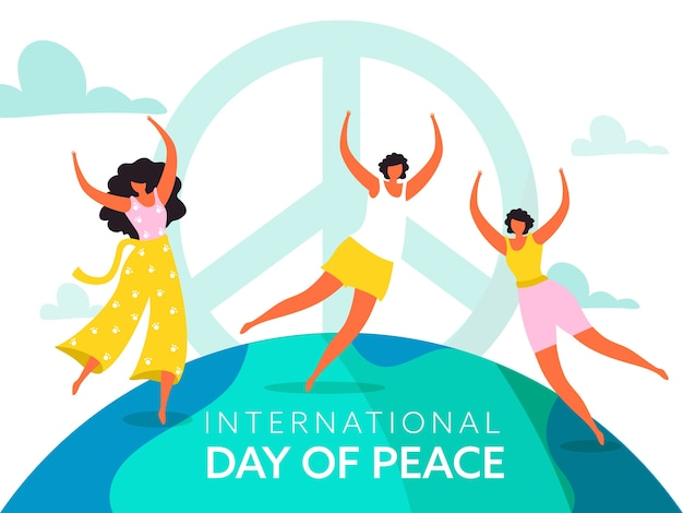 Faceless character of young girls dancing or jumping on white background for international peace day.