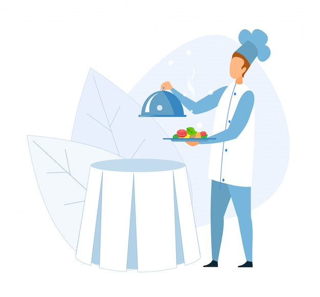 Faceless chef holding steel tray baked vegetables