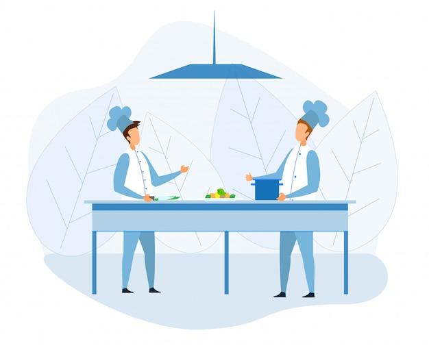 Faceless chefs preparing food in kitchen cartoon