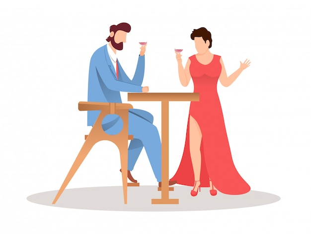Faceless couple on his date and holding wine glass