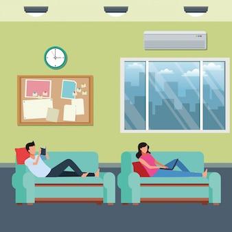 Faceless couple hobbies living room