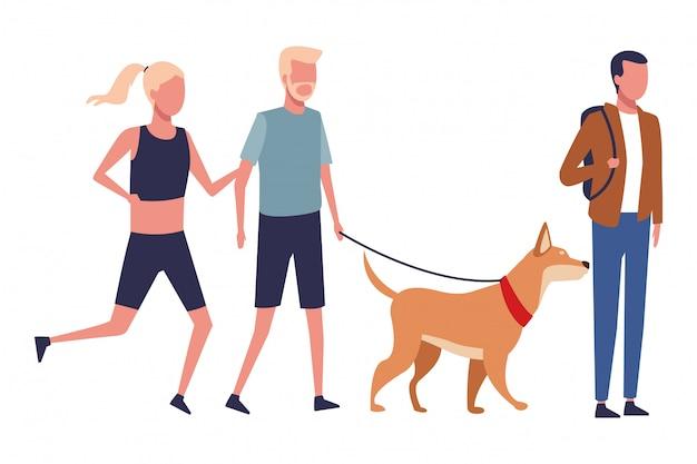 Faceless couple walking dog