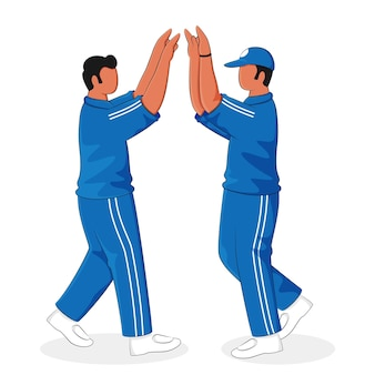Faceless cricket players doing high five on white background.
