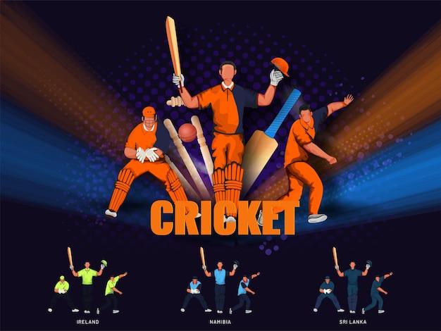 抽象的な紫色のハーフトーンの背景にトーナメント機器を備えた参加国の顔のないクリケットチーム。