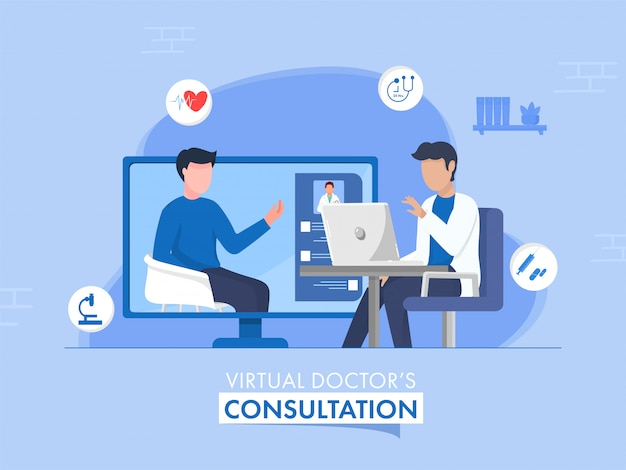 Faceless doctor taking video calling to patient or person from desktop for virtual consultation concept.