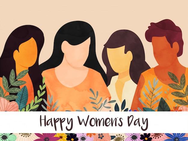 잎과 꽃으로 얼굴이없는 여성 그룹은 행복한 여성의 날 축하 배경 장식.