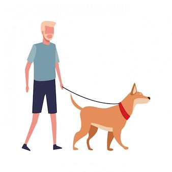 Faceless guy walking dog
