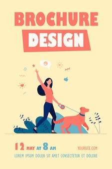公園で犬と一緒に歩く顔のない幸せな女性孤立したチラシテンプレート