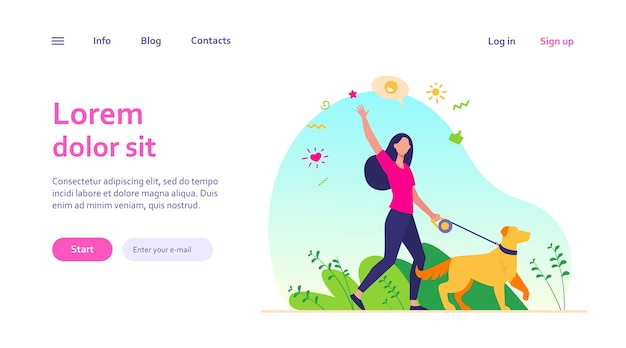 Faceless happy woman walking with dog in park isolated web template. girl with pet on leash strolling at nature and waving.