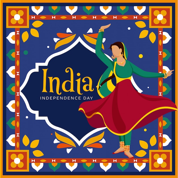 Faceless indian woman doing classical dance on colorful decorative vintage style background in kitsch art for india independence day celebration.