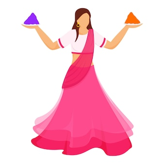 Faceless indian young woman holding color powder (gulal) plate in standing pose.