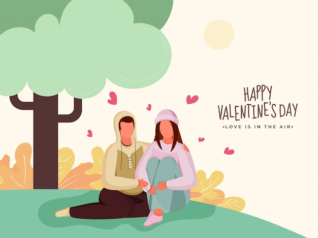 Faceless loving couple character sitting under tree for happy valentine's day, love is in the air .