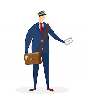 Faceless male character of postman delivering mail