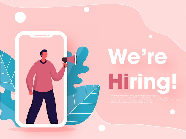 Faceless man online job vacancy announcement in smartphone screen with leaves on pastel pink