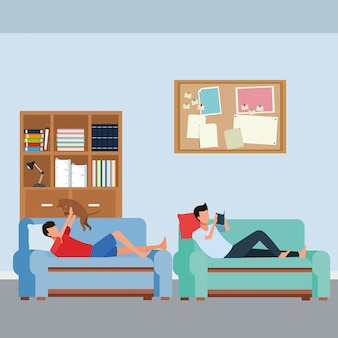 Faceless people relax with dog living room