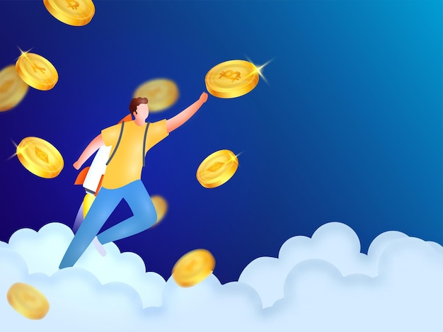 Faceless rocket man touching or target to crypto currencies on blue clouds background.