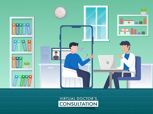 バーチャルドクターのコンサルテーションコンセプトのデジタルデバイスでビデオ通話からお互いに話している顔の見えない2人の男性。