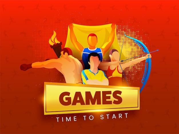 개념을 시작할 게임 시간에 대 한 빨간색 하프톤 배경에 불타는 횃불과 얼굴 없는 다양 한 운동.