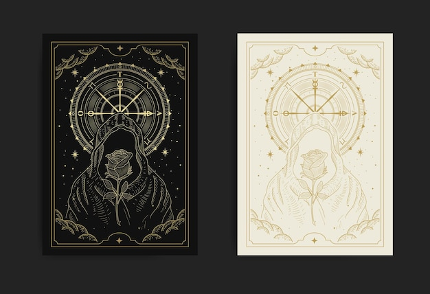 Faceless wizard or sorcerer with rose flower and wheel of fortune