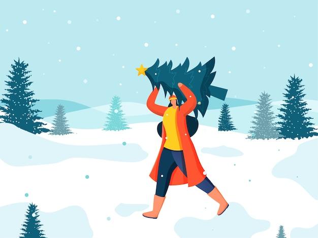 크리스마스 트리를 해제하는 익명의 여자