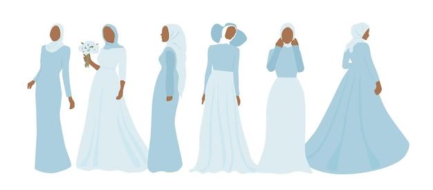 Faceless women in dress and hijab. set of beautiful muslim brides.