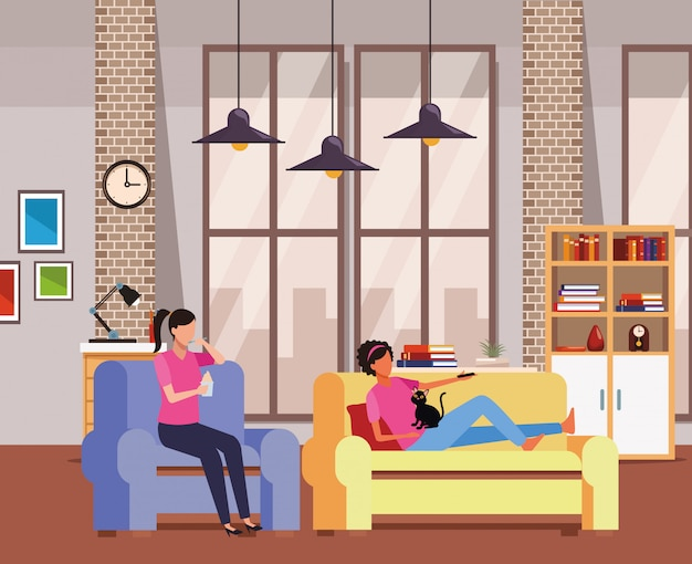 Faceless women relax with cat living room