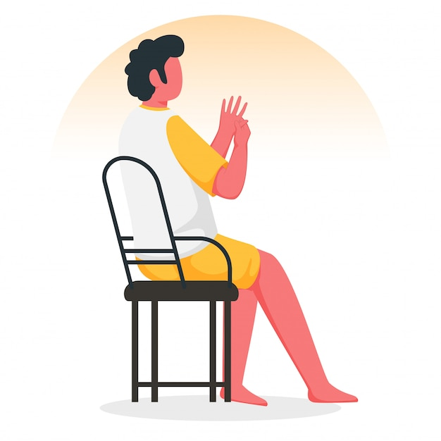 Faceless young boy doing acupressure hand massage at chair.