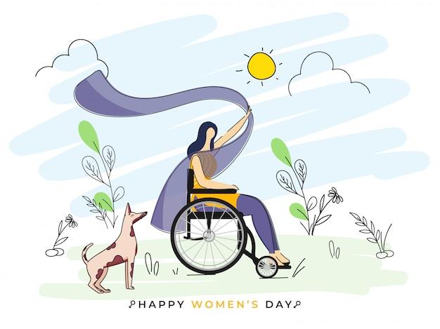 幸せな女性の日の概念の落書き太陽自然ビューの背景に犬と一緒に車椅子に座っている顔の見えない若い女の子。