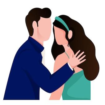 白い背景の上の顔のない若い愛情のあるカップルのキャラクター。