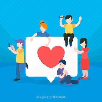 Безликие молодые люди ищут лайки в социальных сетях