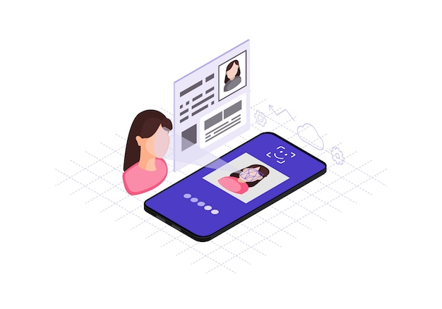 Faceprint analysis application isometric color vector illustration