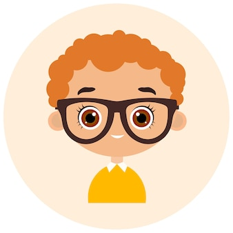 Faces avatar in circle. portrait young boy with glasses. flat cartoon style.