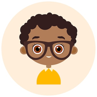 Faces avatar in circle. portrait young boy with glasses. vector illustration eps 10. flat cartoon style.