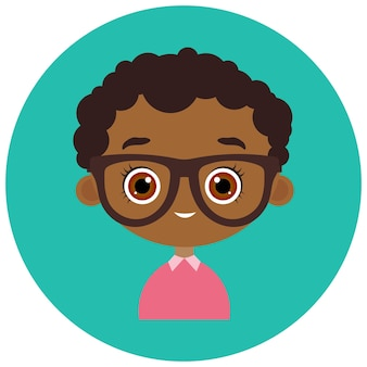 サークルでアバターに直面します。眼鏡をかけた肖像画の若いアフリカ系アメリカ人の少年。フラットな漫画のスタイル。