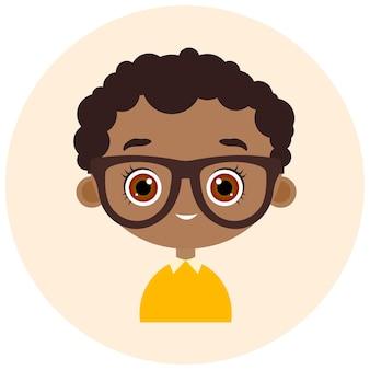 サークルでアバターに直面します。眼鏡をかけた肖像画の少年。ベクトルイラストeps10。フラット漫画スタイル。