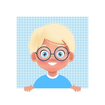 Faces child avatar. portrait of young boy in eyeglasses. vector illustration in cartoon 3d style