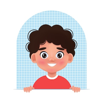 Faces child avatar. portrait of young boy. vector illustration in cartoon 3d style