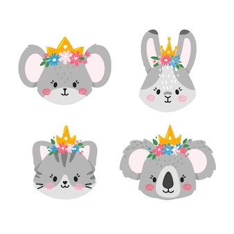 Faces of cute animals with flowers and crowns on their headsmouserabbitcat and koala