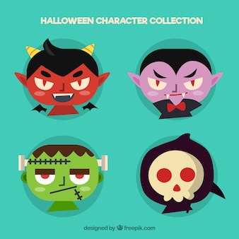 Faces of devil, dracula, frankenstein and grim reaper