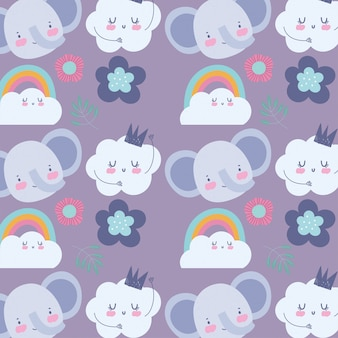 Faces elephant flowers rainbow cloud cartoon cute animals characters background