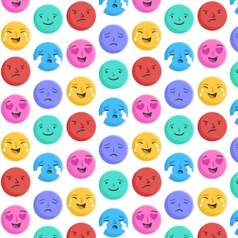 Faces of emoticons pattern template