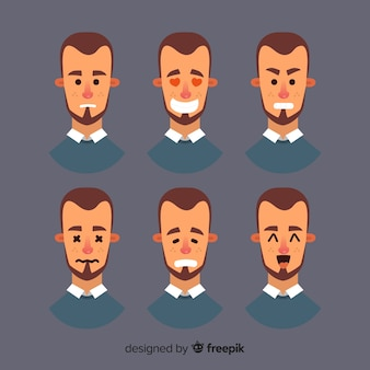 Faces of man with different emotions